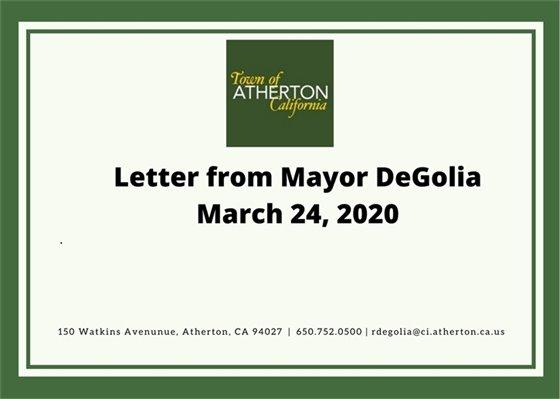 Letter from Mayor DeGolia