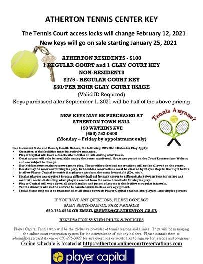 Atherton Tennis Key Flyer 2021