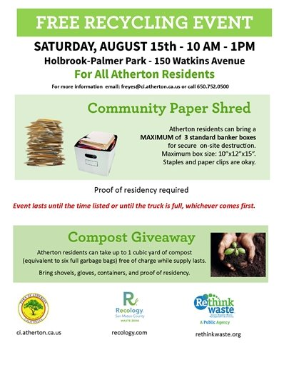 Annual Recycling Event - August 15, 2020