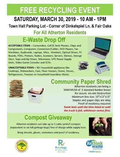 TODAY    E-Waste, Shred and Compost Giveaway Day at Town Hall    TODAY**