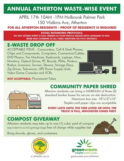 Annual Atherton Recycling Event - April 17