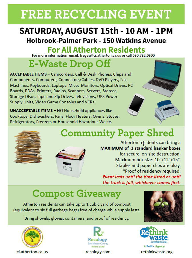 Atherton 2020 E-Waste Shred and Compost Poster_8.15.2020